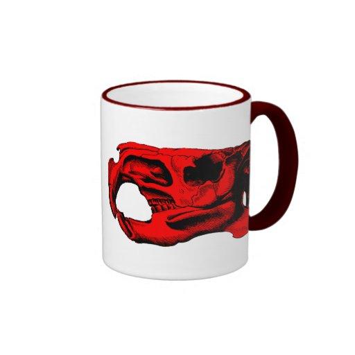 Anatomical Beaver Skull Red Ringer Coffee Mug