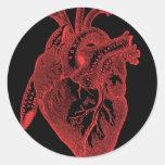 Anatomical Black Heart Round Stickers