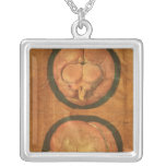 Anatomical drawing of the human brain square pendant necklace