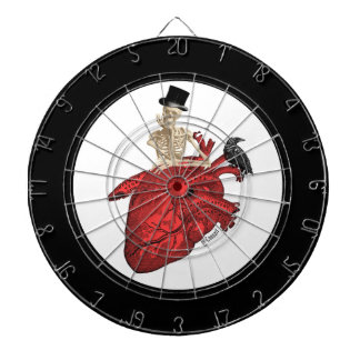 Anatomical heart and gothic skeleton dart boards