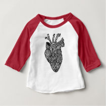 Anatomical Heart Doodle Baby Baseball TEe