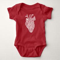 Anatomical Heart Doodle Baby Snap Shirt