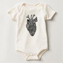 Anatomical Heart Doodle Design Snap Shirt