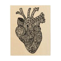 Anatomical Heart Doodle Wood Wall Hanging Wood Print