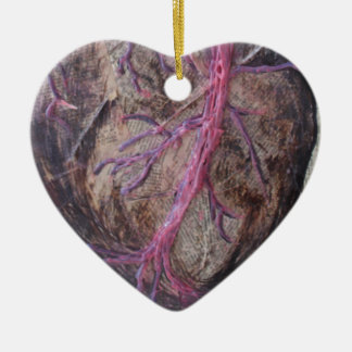 Anatomical heart, original painting ceramic ornament