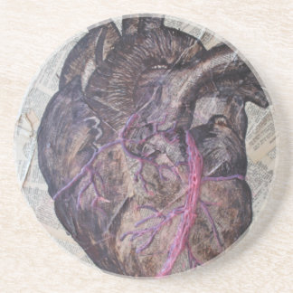 Anatomical heart, original painting coaster