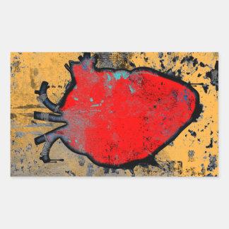 anatomical heart rectangular sticker