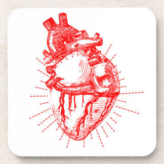 Anatomical Heart Red & White Collection Beverage Coaster