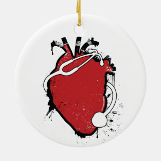 anatomical heart stethoscope ceramic ornament