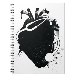 anatomical heart stethoscope notebook