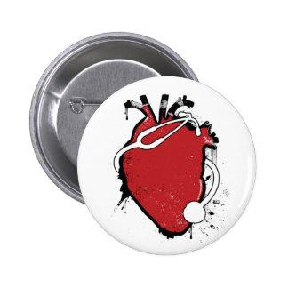 anatomical heart stethoscope pinback button