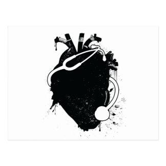 anatomical heart stethoscope postcard