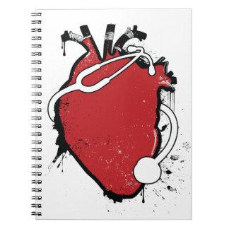 anatomical heart stethoscope spiral notebook