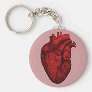Anatomical Human Heart Basic Round Button Keychain