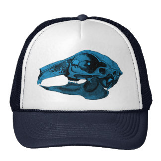 Anatomical Rabbit Skull Blue Trucker Hat