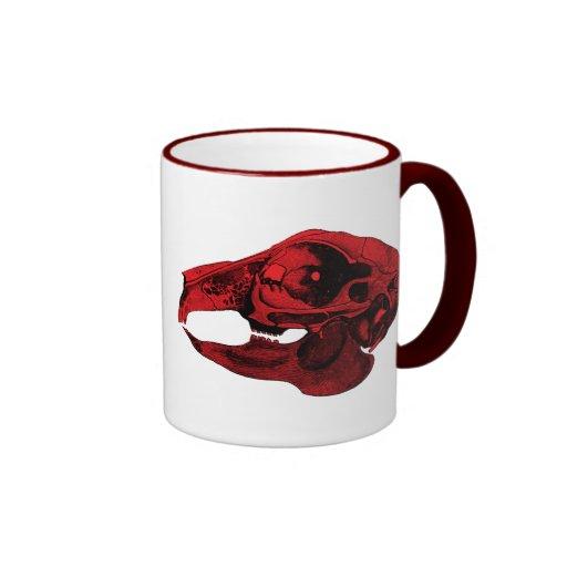 Anatomical Rabbit Skull Red Ringer Coffee Mug