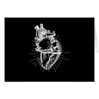 Anatomically Correct Heart Black Background Card