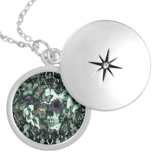 Anatomically Incorrect, poppy skull Locket Necklace