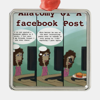 Anatomy Of A facebook Post Funny Metal Ornament