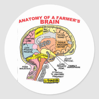 ANATOMY OF A FARMER'S BRAIN CLASSIC ROUND STICKER