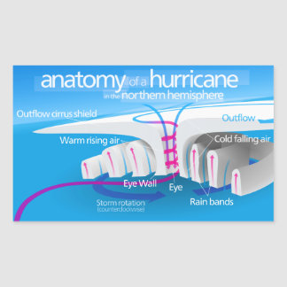 Anatomy of a Hurricane Diagram Rectangular Sticker