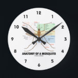 """Anatomy Of A Mosquito (Entomology) Round Clock<br><div class=""""desc"""">No need to be an entomologist to enjoy any of these entomological attitude biology gifts featuring detailed &quot;Anatomy Of A Mosquito&quot;, with labels of all key anatomical parts. Make others do a double-take during mosquito season with an informative scientific diagram of everyone&#39;s most unwanted insect! No need to have been...</div>"""