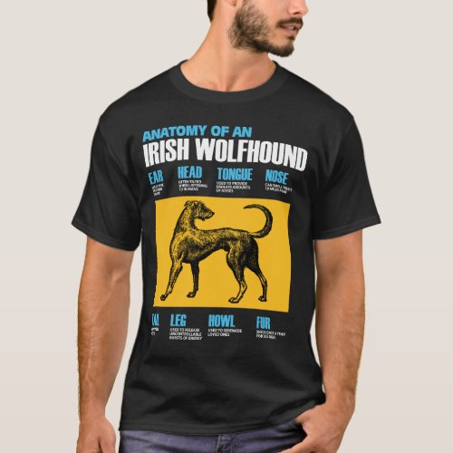 Anatomy Of An Irish Wolfhound Dog _ Puppy Lover T_Shirt