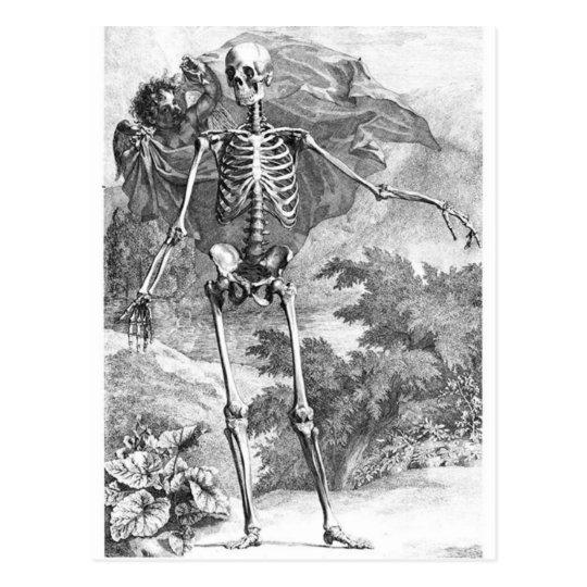 Anatomy of Death vintage woodcut postcard