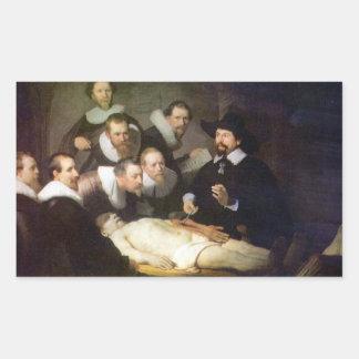 Anatomy of Dr. Tulp by Rembrandt Rectangular Sticker