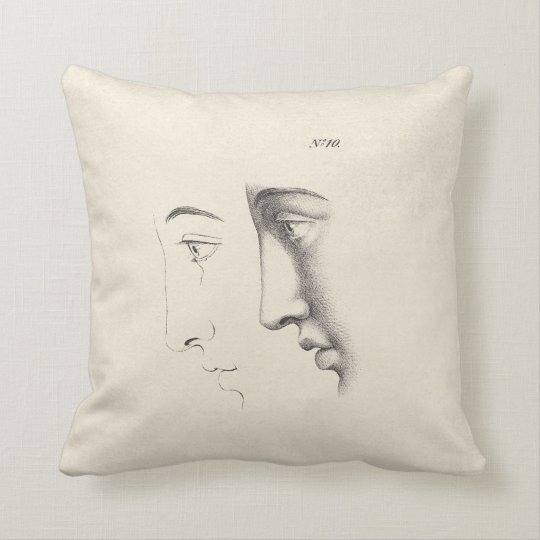 Anatomy Of The Human Face Antique French Style Throw Pillow