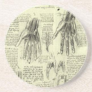 Anatomy of the Human Hand by Leonardo da Vinci Sandstone Coaster