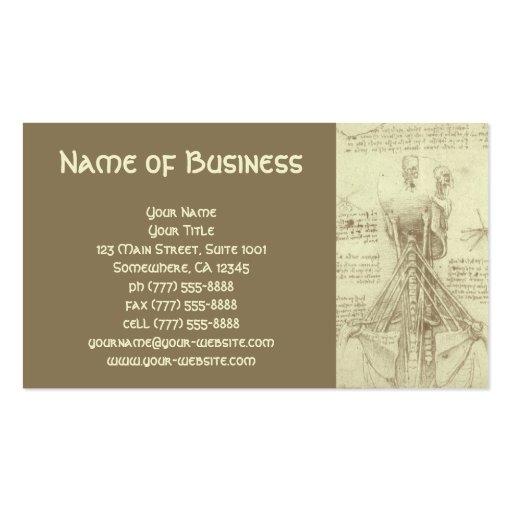 Anatomy Sketch of Spinal Column Leonardo da Vinci Business Card Template
