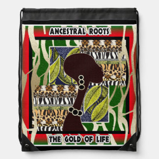 Ancestral Roots: The Gold of Life Drawstring Bag