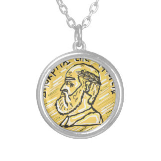 Anchient Coin Sketch Silver Plated Necklace