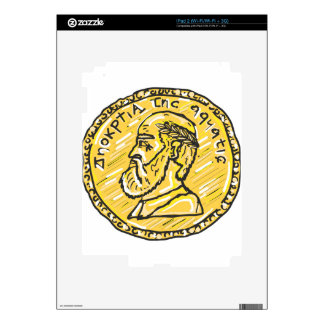 Anchient Coin Sketch Skin For iPad 2
