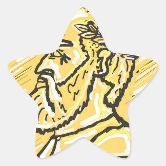 Anchient Coin Sketch Star Sticker
