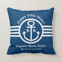 Anchor 50th Birthday Nautical Theme Throw Pillow