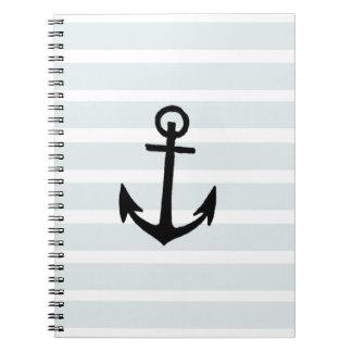 Anchor and Beach Hut Blue Stripes Spiral Notebook