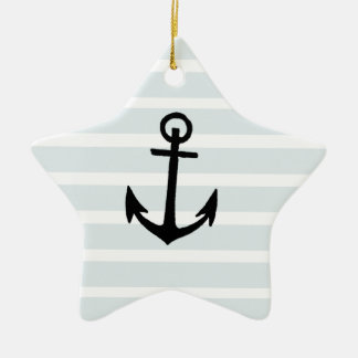 Anchor and Beach Hut Blue Stripes Double-Sided Star Ceramic Christmas Ornament