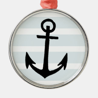 Anchor and Beach Hut Blue Stripes Round Metal Christmas Ornament
