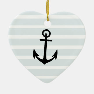 Anchor and Beach Hut Blue Stripes Double-Sided Heart Ceramic Christmas Ornament