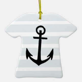 Anchor and Beach Hut Blue Stripes Double-Sided T-Shirt Ceramic Christmas Ornament