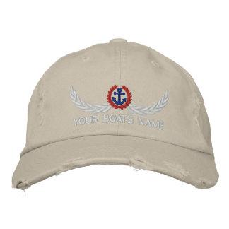 Anchor and boats name sailing captains embroidered baseball cap