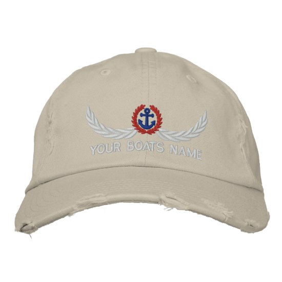 Anchor and boats name sailing captains embroidered baseball hat