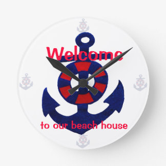 Anchor and Buoy red, white, and blue Wall Clock