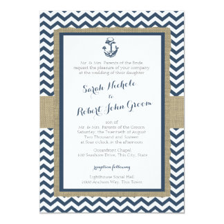 Anchor and Chevron Navy Blue Rustic Wedding Card