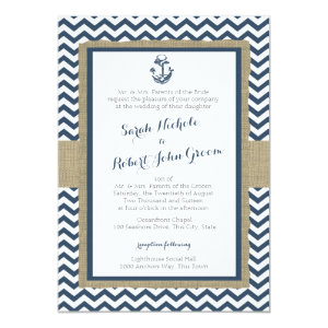 Anchor and Chevron Navy Blue Rustic Wedding 5x7 Paper Invitation Card