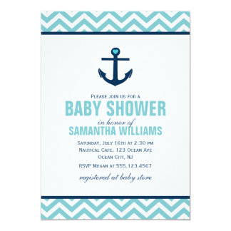 Anchor and Chevrons Nautical Baby Shower {blue} Card