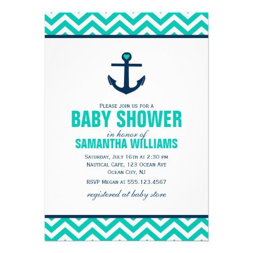Anchor and Chevrons Nautical Baby Shower {green} Personalized Announcements