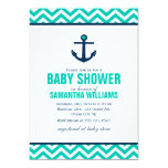 Anchor and Chevrons Nautical Baby Shower {green} 5x7 Paper Invitation Card